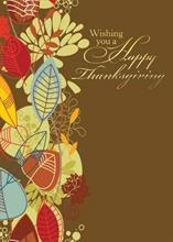 #5757<br>Modern Fall LeavesHappy Thanksgiving Card