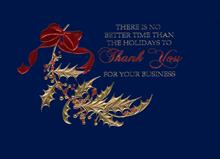 #5805<br>Business Holly Leaf on BlueHolly Business Holiday Card