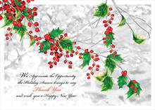 #5797<br>Business Colorful Holly LeafHolly Business Holiday Card