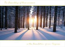 #5806<br>Shining Light through Snowy TreesBusiness Appreciation Holiday Card