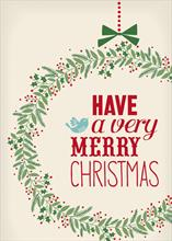 #5820<br>A Very Merry Christmas WreathChristmas Wreath Card
