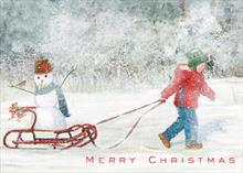 #6045<br>Snowtime FrolicChildren Merry Christmas Card