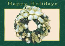 #6671<br>Wreath with Green BorderClassic Christmas Card