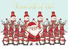 #6564<br>Santa &amp; FriendsFrom All Of Us! Christmas Card