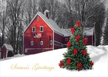 #2722<br>Red Barn with Holiday Tree