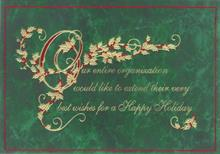 #6533<br>Green Marble Thank YouBusiness Christmas Card