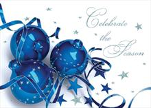 #6481<br>Sparking blue baublesCorporate Christmas Card