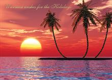 #6317<br>Island Sunset GreetingsTropical Christmas Card