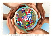 #6299<br>Hands around the WorldInternational Greeting Card of Peace