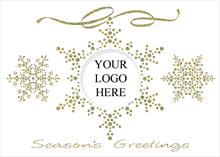 #6507<br>Golden Snowflakes LogoBusiness Logo Greeting Cards