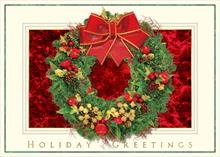 #6244<br>Festive Holiday WreathWreath Christmas Card