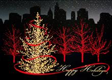 #6337<br>City Tree LightsCity Christmas Card
