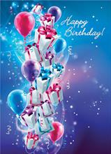 #6467<br>Cascade of Balloons and PackagesBusiness Birthday Card