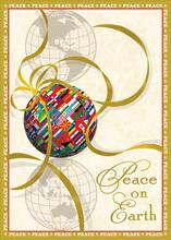 #6566<br>International Flag OrnamentWorld Peace Christmas Card